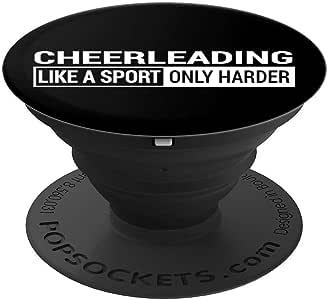 Cheerleading Like A Sport Only Harder 黑色趣味 Cheer 礼物 PopSockets 手机和平板电脑握架260027  黑色