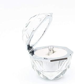 Wislist 水晶戒指盒支架钻石戒指珠宝天鹅绒支架胸部收纳盒耳环硬币首饰展示盒盒子求婚订婚婚礼仪式生日礼物