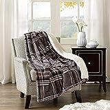 Comfort Spaces 羊绒/长毛绒沙发毯 - 127 x 152.4 厘米轻质舒适沙发床/沙发床/沙发床罩 适合办公室躺椅 灰色 Plaid CS50-0301