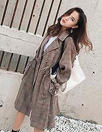 Goralon 初秋女装格子chic风衣女中长款抽绳收腰英伦风灯笼袖学生外套