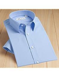 DEEPOCEAN 深海 夏季男士短袖衬衫商务纯色免烫白色衬衣韩版修身纯棉正装