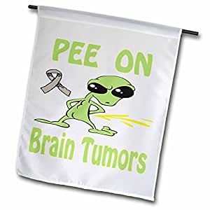 blonde Designs cause 意识 Designs PEE ON alien–超有趣 peeing alien supporting causes for Brain tumors–旗帜 12 x 18 inch Garden Flag
