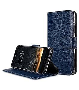 Melkco 高级皮革正面翻盖钱包书套支架卡槽皮套磁性开合苹果 iPhone X 手工制作 - 钱包书籍透明型支架MKWBAPIP8XBD3DBLCLT 深蓝色