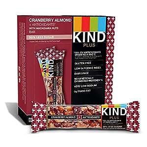 KIND 饼干棒,蔓越莓杏仁+夏威夷果,无麸质,低糖