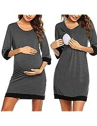 Ekouaer 女式孕妇装短袖哺乳睡衣 *喂养*睡衣
