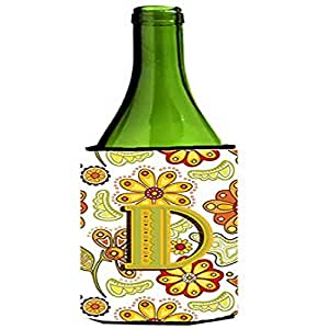 Caroline's Treasures CJ2003-DLITERK Letter D Floral Mustard and Green Wine Bottle Koozie Hugger, 750ml, Multicolor