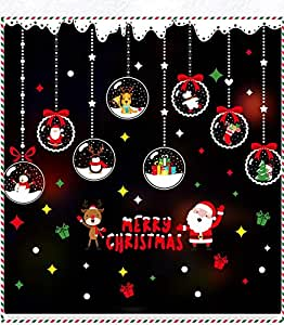 MerryBright 圣诞节新年窗户贴纸贴花防水双面环保 DIY 装饰家用墙壁厨房镜瓷砖玻璃汽车光滑表面一件式大号 Jingle Bells