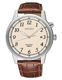 Seiko Men's SKA779 Silver Leather Japanese Quartz Fashion Watch