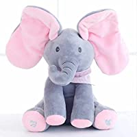 致暖Warmest 音乐小象 升级款 安抚玩具躲猫猫 大象毛绒玩具 女生公仔会唱歌宝宝生日礼物 礼盒包装 灰粉色
