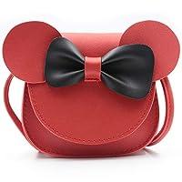 QiMing 小老鼠耳蝴蝶结斜挎包,PU 单肩手提包,适合儿童女孩幼儿 红色