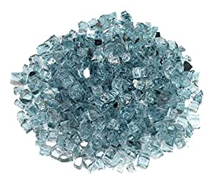 American Fireglass 10-Pound Reflective Fire Glass with Fireplace Glass and Fire Pit Glass Azuria Blue 1/2 Inch x 55 Pounds