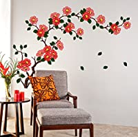 StickersKart Wall Stickers Floral Branch Sofa Living Room Background Antique Flowers Vinyl Art (Wall Covering Area: 110cm x 75cm)