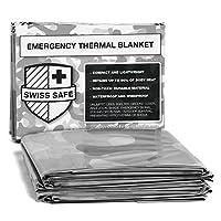 瑞士*紧急聚酯热毯(4 件装)+ 赠品签名金色箔空间毯:专为 NASA、户外、远足、生存、马拉松或急救设计