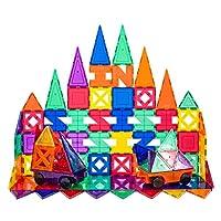 PicassoTiles 积木教育套件 3D 建筑玩具套装透明磁性堆叠积木 STEM 游戏板 82 Piece