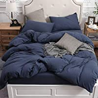 PURE ERA 纯色棉质超柔针织家居床上用品 3 件套被套套装,1 被子和 2 个枕套 Midnightblue King PE-19MB-K