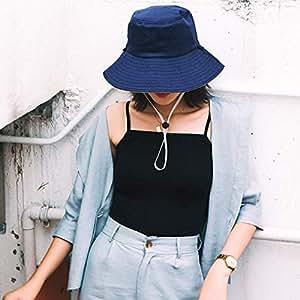 【双面渔夫帽】渔夫帽女士春夏遮阳帽双面纯色布帽可折叠太阳帽大沿帽子 (女士渔夫帽藏青米)