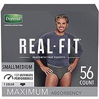 Depend Real Fit 男士尿*內褲,*大吸收性 小號/中號 56 Count, Black 56