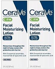 CeraVe 面部保湿乳液PM | 3盎司/89毫升(2件装)| 超轻盈的夜间保湿霜| 无香料