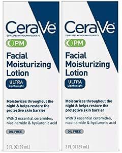 CeraVe 夜间面部保湿乳液,水润轻盈,3液体盎司(89ml),2件装