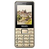 Philips飞利浦 E132X 移动联通直板按键老人手机大字大声长待机老年机一键拨号老人手机 (金色)
