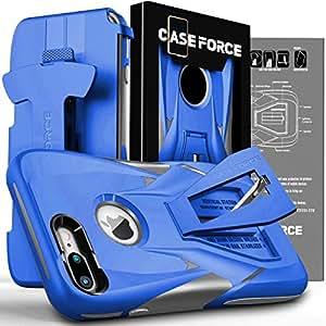 CASE FORCE 手机壳适用于 iPhone 8 Plus/7 Plus [Velocity 系列]女式男式,支架重型*级防摔皮套带皮带夹 蓝色/灰色
