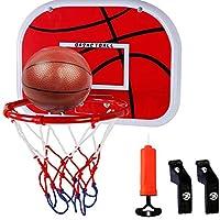 Woodrow Cissie 迷你门篮球框小型墙壁篮板套装适用于门室内室外办公室游乐场花园沙滩游泳池运动游戏男孩女孩儿童幼儿成人带气泵球