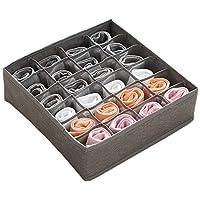 1 包可折叠面料抽屉整理隔板,壁橱橱柜整理盒储物盒储物盒,可收纳内裤、内衣、领带、袜子、内衣,PoeticValley出品(灰色,24个)