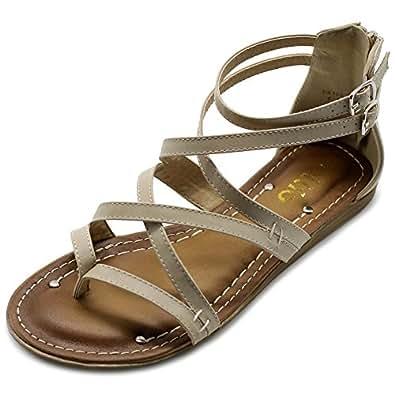 Ollio 女式 Shoe 角斗士系带平底 Zori 凉鞋 米色 8.5 M US