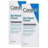 CeraVe 眼部修復霜 | 2 件裝(每包 0.5 盎司)| 黑眼圈和浮腫眼霜 | 不含香料