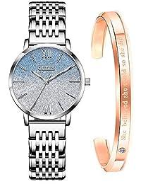 OLEVS 女式手表玫瑰金不銹鋼藍色臉時尚禮服鉆石日本石英機芯防水女士腕表手鏈套裝
