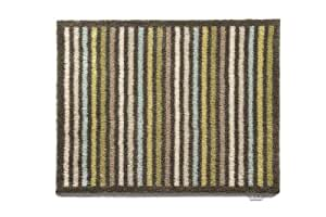 Hug Rug T140 Eco-Friendly Absorbent Dirt Trapping Indoor Washable Mat Brown and Green Stripe 25.5-Inch x 33.5-Inch