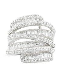 JanKuo Jewelry 镀铑长阶梯形方晶锆石宽戒鸡尾*戒指