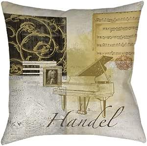 手工木工和防风雨方形室内/室外枕头,18 英寸,经典作曲家汉德