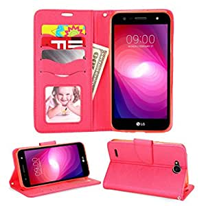 LG X Power 2 / LG Fiesta LTE/LG K10 Power/LG X Charge/LG LV7 手机壳 (L63BL) 手机套,加厚手机壳,TPU 手机壳,装甲混合保护套,钱包式手机壳。 Wallet Red