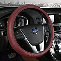 欧斯莱 汽车真皮把套适用于沃尔沃S80L S60L XC60 XC90V40 真皮汽车把 K72酒红