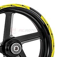 MC Motoparts 2 套 8 件 43.18 厘米轮辋条纹贴纸胶带 DIY FLASH 图案适用于川崎阿普利亚本田雅马哈 MCWSAFLASH01BKYW17-AM001