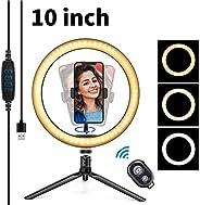 10英寸(约25.4厘米)LED环形灯带三脚架手机支架蓝牙接收器,桌面化妆自拍环灯可调光3种灯光模式,10种亮度USB立式环形灯适用于手机化妆摄影