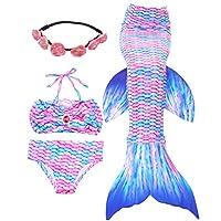 4 件套女孩泳衣美人鱼服装礼物游泳比基尼套装适合 4-12 岁