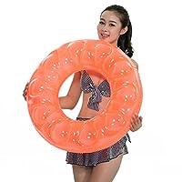 海之雨 水上玩具 儿童大人两用泳圈5岁以上 外圈直径73.5cm带打气筒 颜色随机1911(亚马逊自营商品, 由供应商配送)