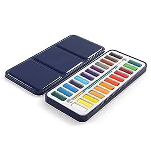 Axe Sickle - 24 种颜色水彩颜料套装 - 充满活力的色彩 - 非常适合盛装业余爱好者和艺术家 - 包括画笔。 24 vibrant colors(Blue iron box) 8.5 X 3.7 X 0.7 LMS-SCTL-166111