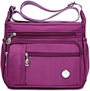 防水尼龙单肩斜挎包 - 手提包 拉链口袋 手提包 手提包 钱包 女式小包 黑色