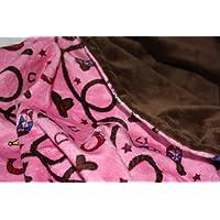 "Minky Blanket - 婴儿毛毯,幼童毯,儿童毛毯 - 西方,罗德奥,牛仔,牛仔女孩,米奇毛毯 Hot Pink/Brown Medium (@29""X35"")"
