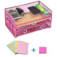 Pro Space 网眼办公桌收纳盒 3 层金属桌面文件收纳盒 带 3 个抽屉 办公或家庭文件托盘 6 个文件文件夹和免费笔记 13.8 英寸(约 35.8 厘米)9.06 英寸(约 17.3 厘米)玫瑰红