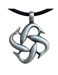 Quad Dolphin Infinity Charm Amulet Silver Pewter Pendant  银色