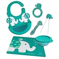 Marcus & Marcus 硅胶婴儿围嘴,可折叠碗,喂食勺,筷子、出牙胶和餐垫 大象灰