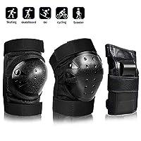 AILUNHUA 成人/青年/儿童防护装备套装,适用于滑板/滑冰/滑板/自行车,男女老少,3合1护膝护腕护腕