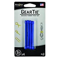 Nite Ize Original Gear Tie, Reusable Rubber Twist Tie, 3-Inch, Blue, 4 Pack, Made in the USA