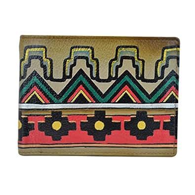 anuschka anuschka handpainted 皮革 RFID 屏蔽两折男式钱包,古 Aztec 钱包 Antique Aztec 单一尺寸
