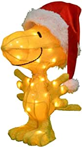 ProductWorks 18-Inch Pre-Lit 3D Peanuts Woodstock in Santa Hat Christmas Yard Decoration 24-Inch