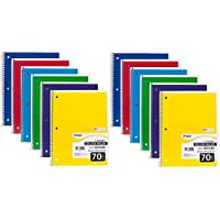 """Mead Spiral Notebook, College Ruled, 1 Subject, 70 Sheets, 7.5"""" x 10.5"""", 12 Pack, Assorted Colors (05512-12)"""